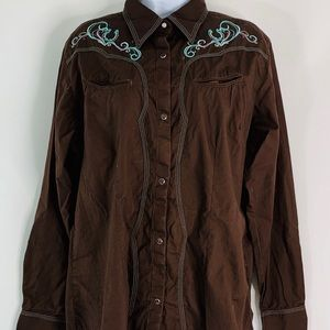 Wrangler L Embroidered Pearl Snap Rodeo Shirt